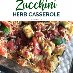 Zucchini casserole in pan with rice and tomatoes.