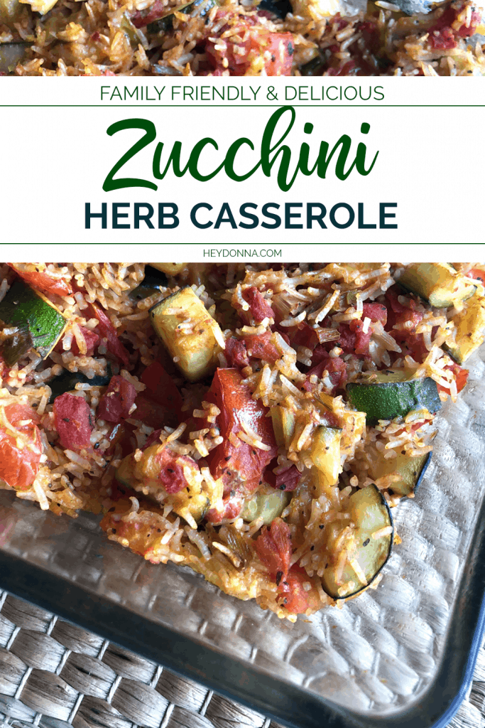 Zucchini Herb Casserole with rice and tomatoes.