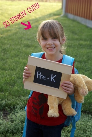 Pre-K Chalk Board first Day of school