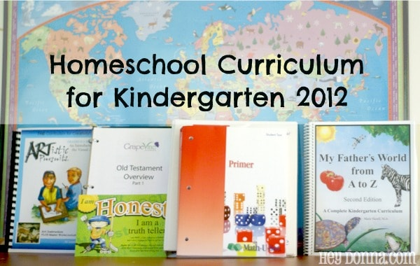 Kindergarten Homechool Curriculum for 2012