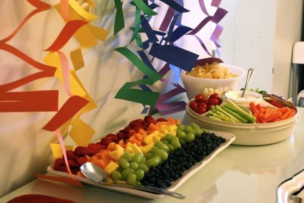 Rainbow Themed Snacks Fruit and Veggie Tray