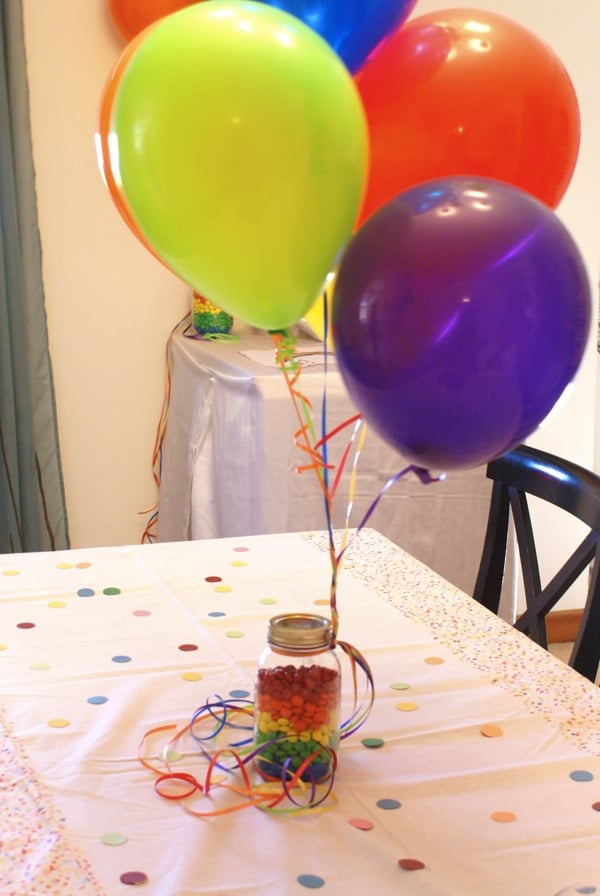 M&M Centerpiece for Rainbow Birthday Party