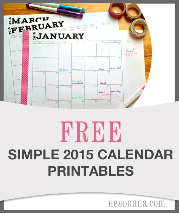 Simple 2015 Printable Calendar