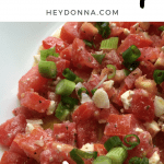 Greek Dip with tomatoes and feta on a plate