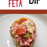 Tomato and feta dip on plate