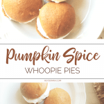 Pumpkin spice whoopie pies with cream cheese frosting on plate.
