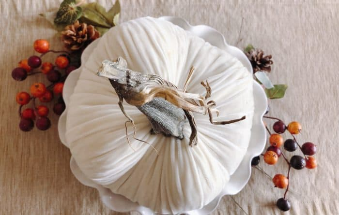 Fall Table Centerpiece with Velvet Pumpkin