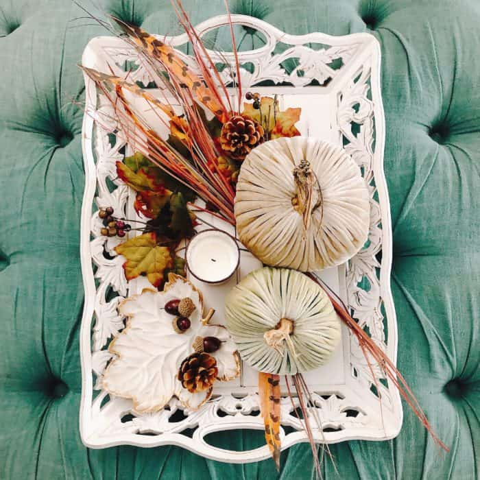 Fall vignette with Velvet Pumpkins