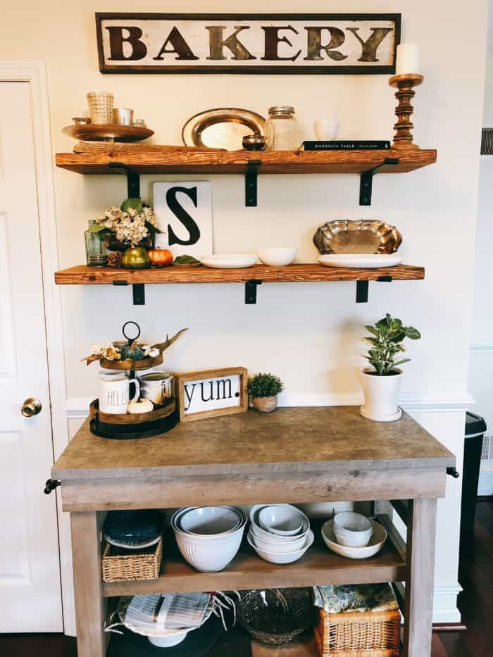 Fall Decor Kitchen Open Shelving