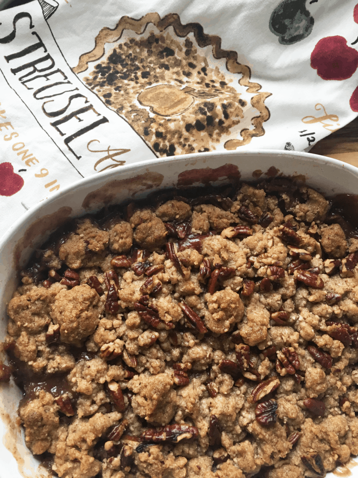 apple cherry crumble in dish