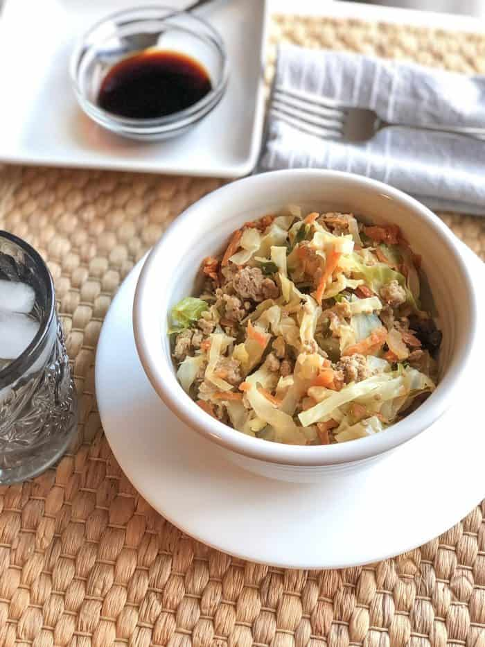 Keto friendly Egg Roll in a Bowl - this really does taste just like an egg roll and is full of heathy veggies!