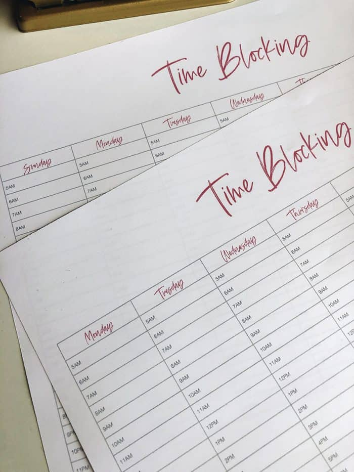 Free Download: Time Blocking Template
