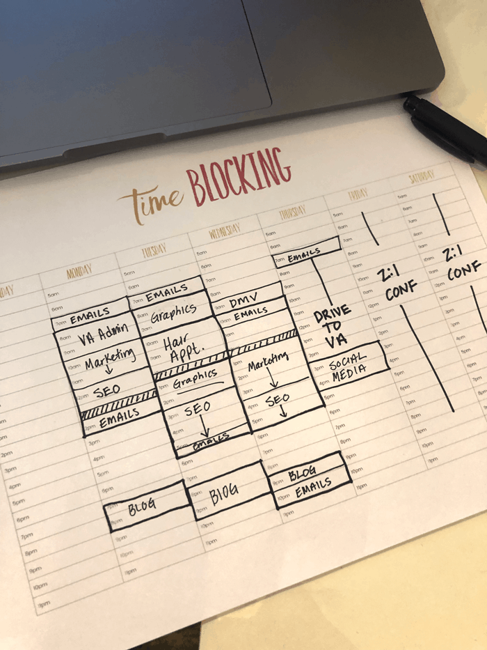 Time blocking calendar printed with weekly schedule.