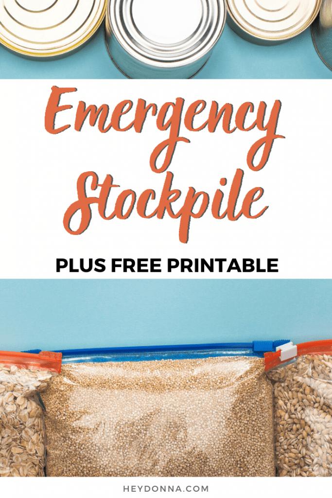 Emergency Stockpile plus Free printable