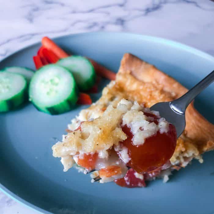 Tomato pie on fork