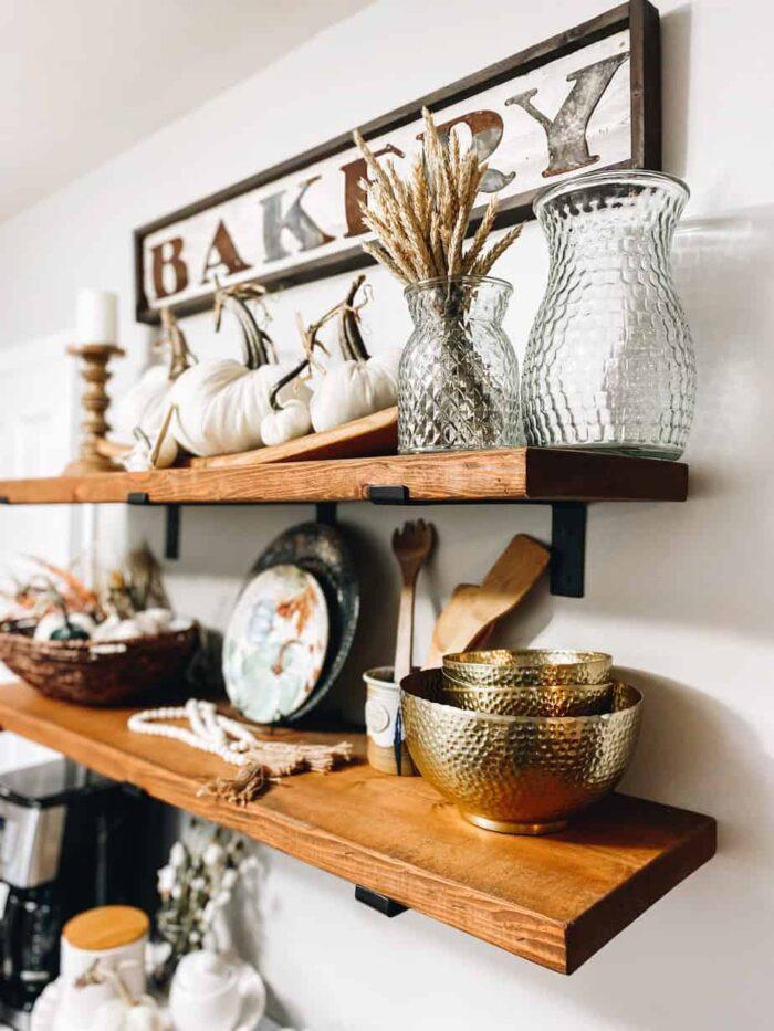 DIY Farmhouse Shelves decorated for fall