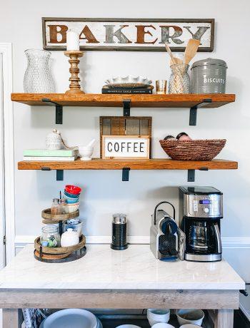 farmhouse styled shelves