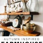 fall decor on open shelves in kitchen. Farmhouse style fall decor on a shelf