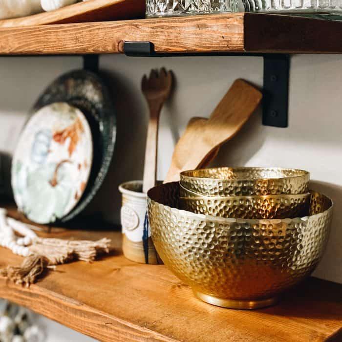 Gold hammered bowls on Farmhouse Shelves