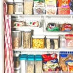 organized pantry with clear containers