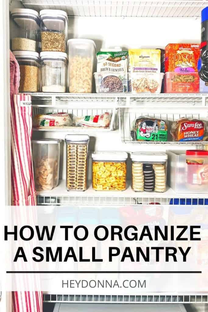 Organized closet pantry with clear containers for storage