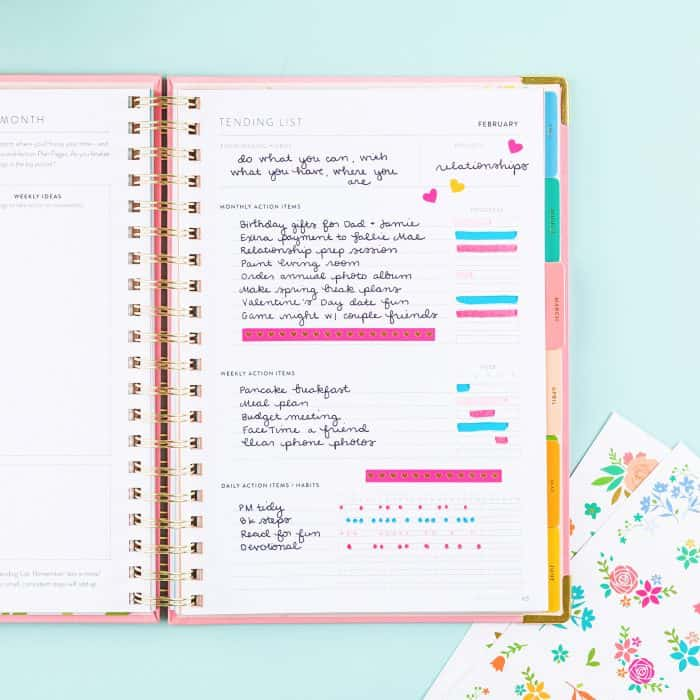 PowerSheets Goal Planner Inside Pages Tending List with writing