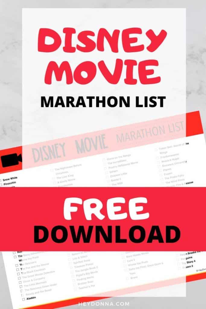 Disney Movie Marathon List - Over 100 Disney Movies!