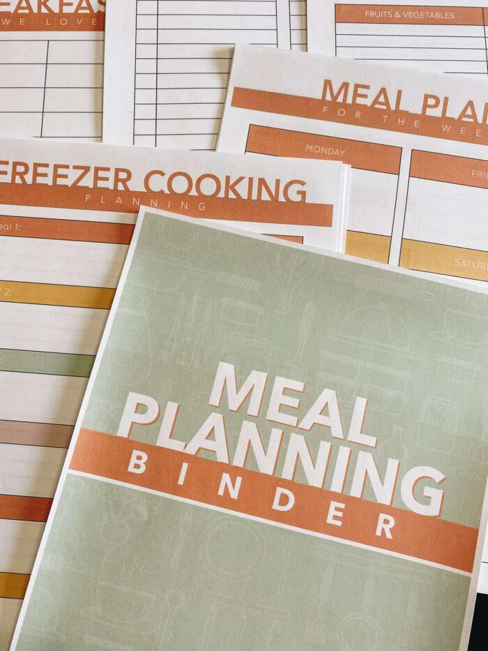 Meal planning binder printable worksheets