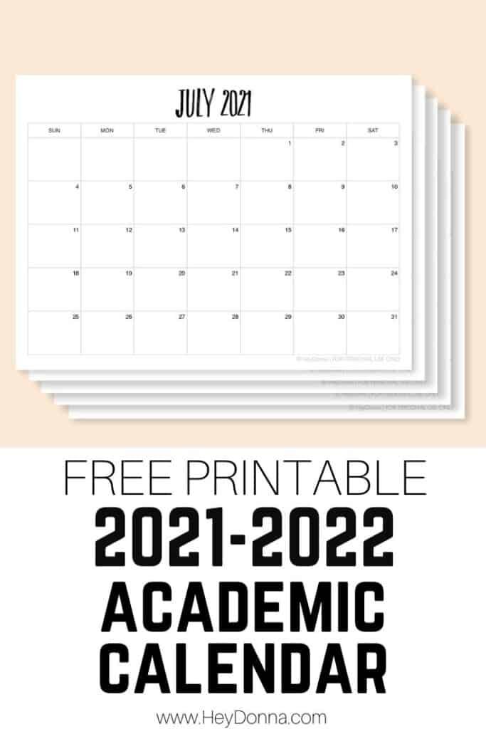 2021-2022 Academic Calendar Printable