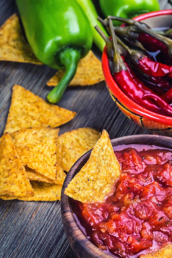 Roasted Salsa Recipe with chips