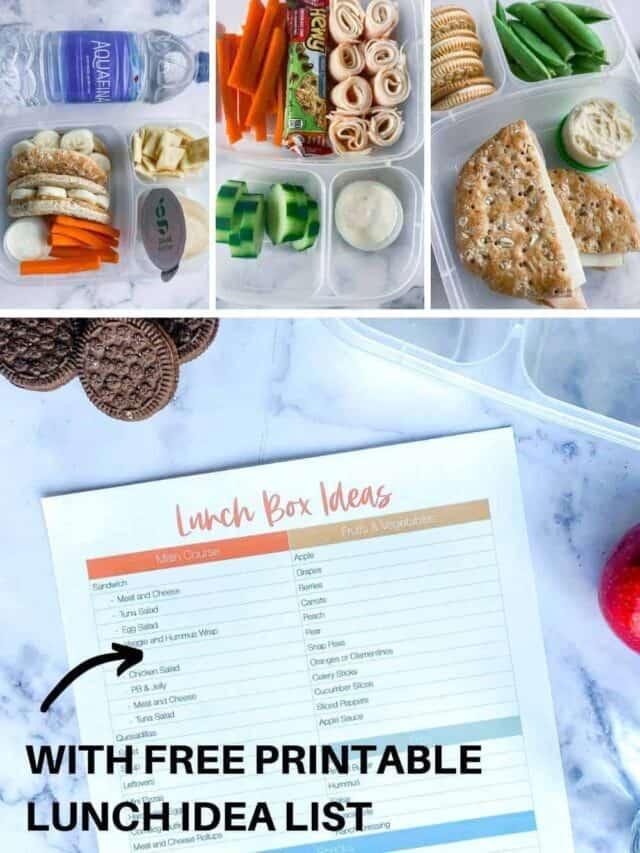 Lunch Box Ideas for Kids Plus Printable List