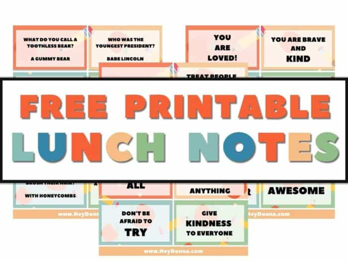 Free Printable Lunch notes with jokes and encouraging messages  Free printable lunch box notes   Encouraging Lunch box Notes   Funny Lunch box notes for kids   School