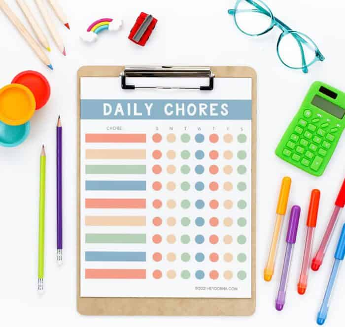 Colorful Chore Chart for Kids - on clipboard