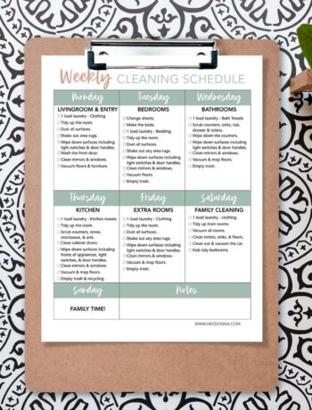 Weekly Cleaning Schedule to print