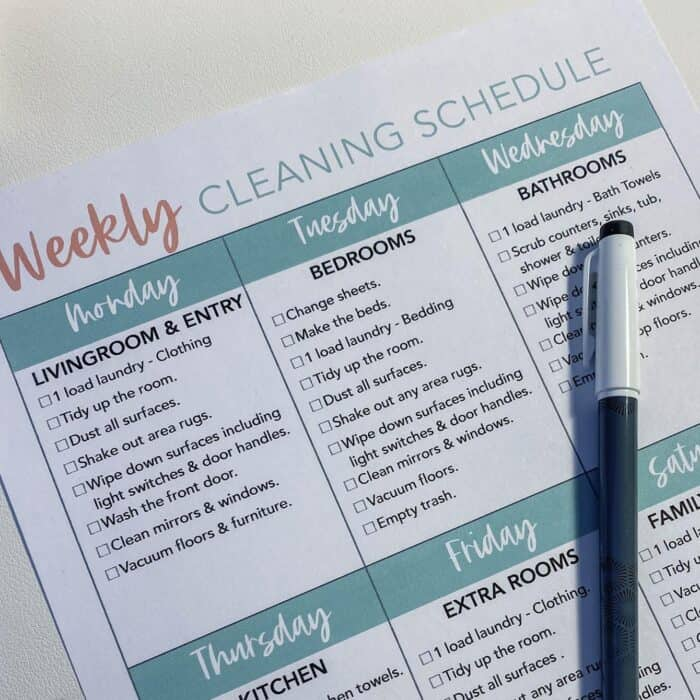 Daily Cleaning schedule for working moms with a checklist of chores for each room in the house.