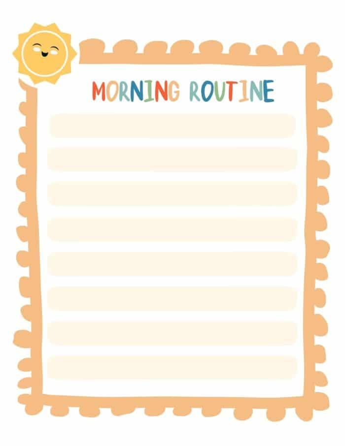 kids morning routine chart to print with blank spaces